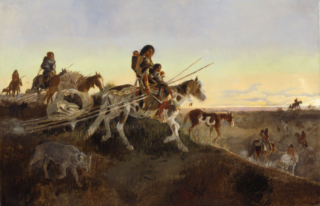 Charles Russell, Seeking New Hunting Grounds (Breaking Camp; Indian Women and Children On The Trail), ca. 1891, Oil on canvas, 23 3/4 inches x 35 7/8 inches