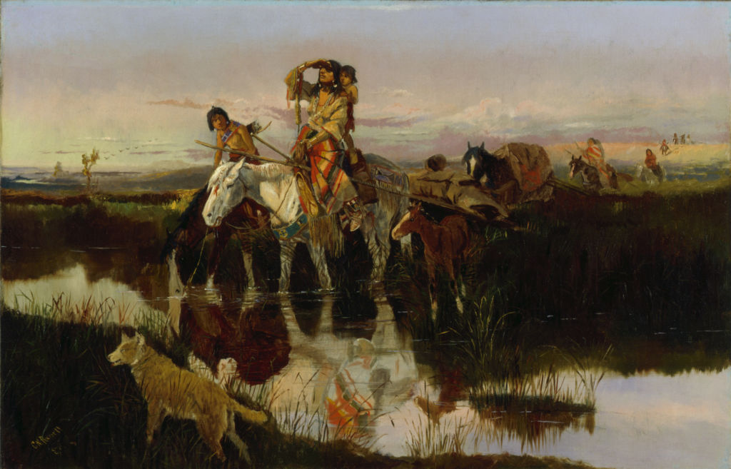 Charles Russell, Bringing Up the Trail, 1895, Oil on canvas, 22 7/8 x 35 inches