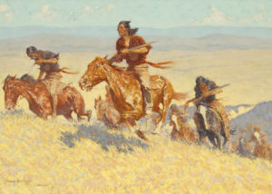 Frederic Remington, Buffalo Runners - Big Horn Basin, 1909, Oil on canvas, 30 1/8 x 51 1/8 inches
