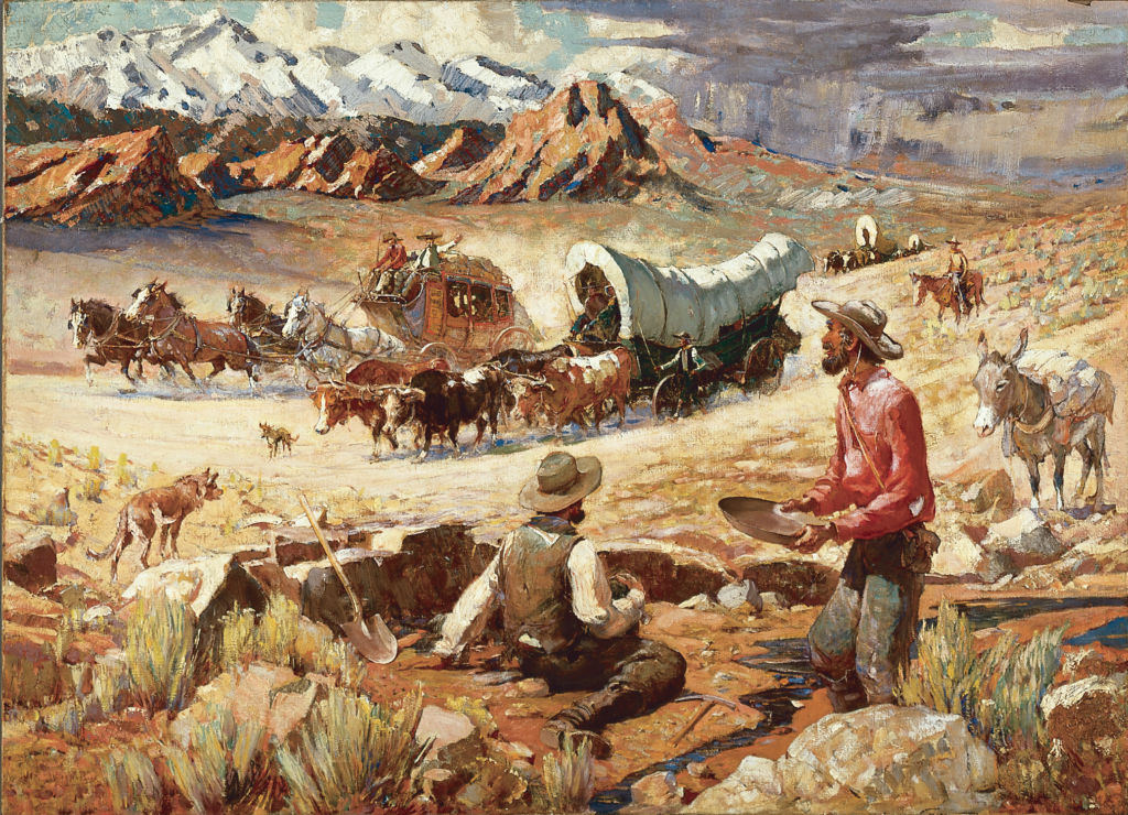 Oscar E. Berninghaus, The Forty-Niners, Before 1942, Oil on canvas, 26 1/4 x 36 1/4 inches