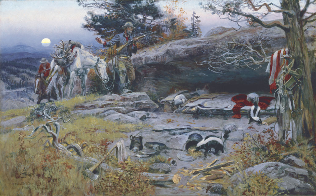 Charles Russell, Man's Weapons Are Useless When Nature Goes Armed, 1916, Oil on canvas, 30 inches x 48 1/8 inches