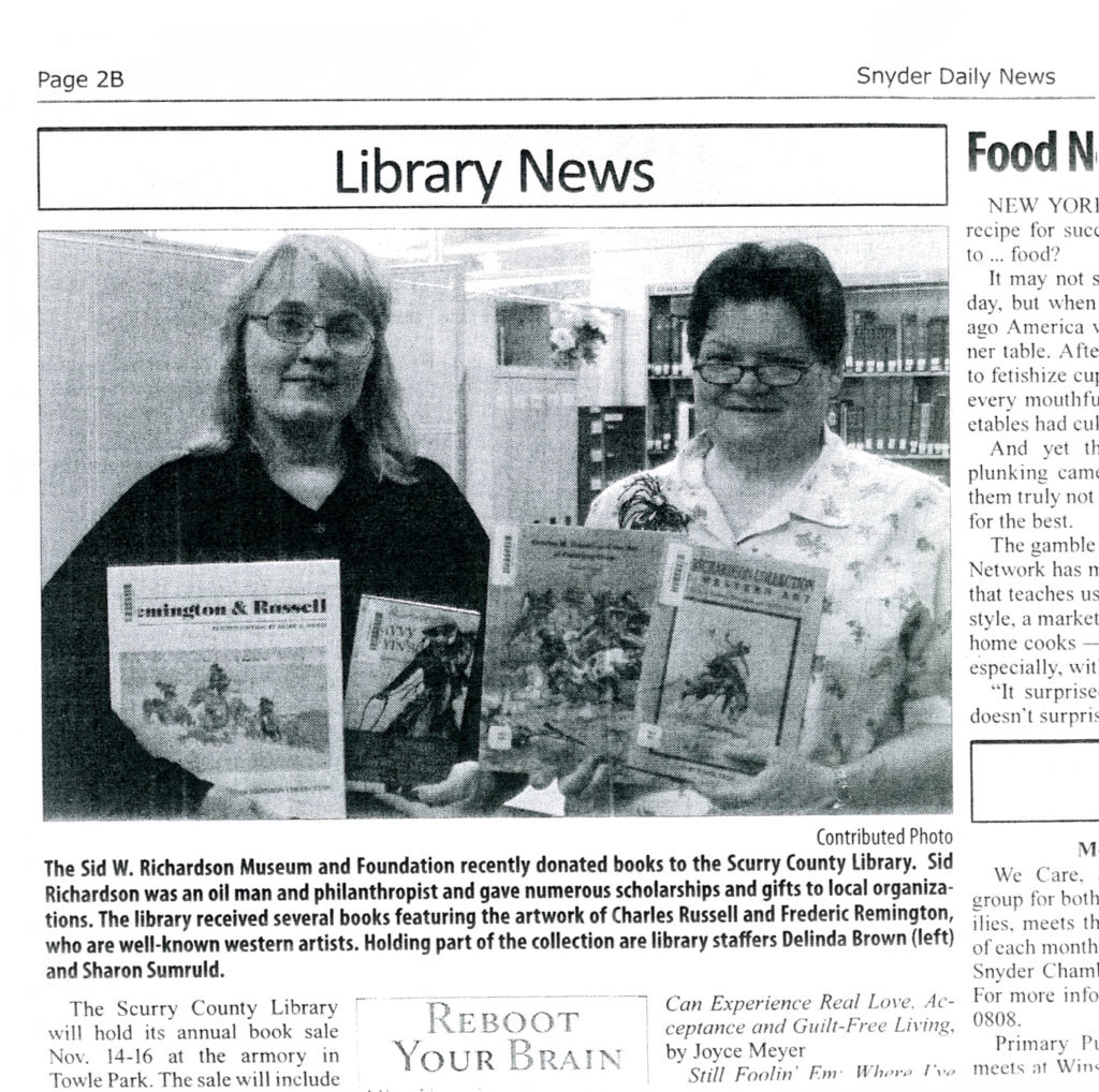 Our donations were highlighted by the local newspaper in Snyder, TX.