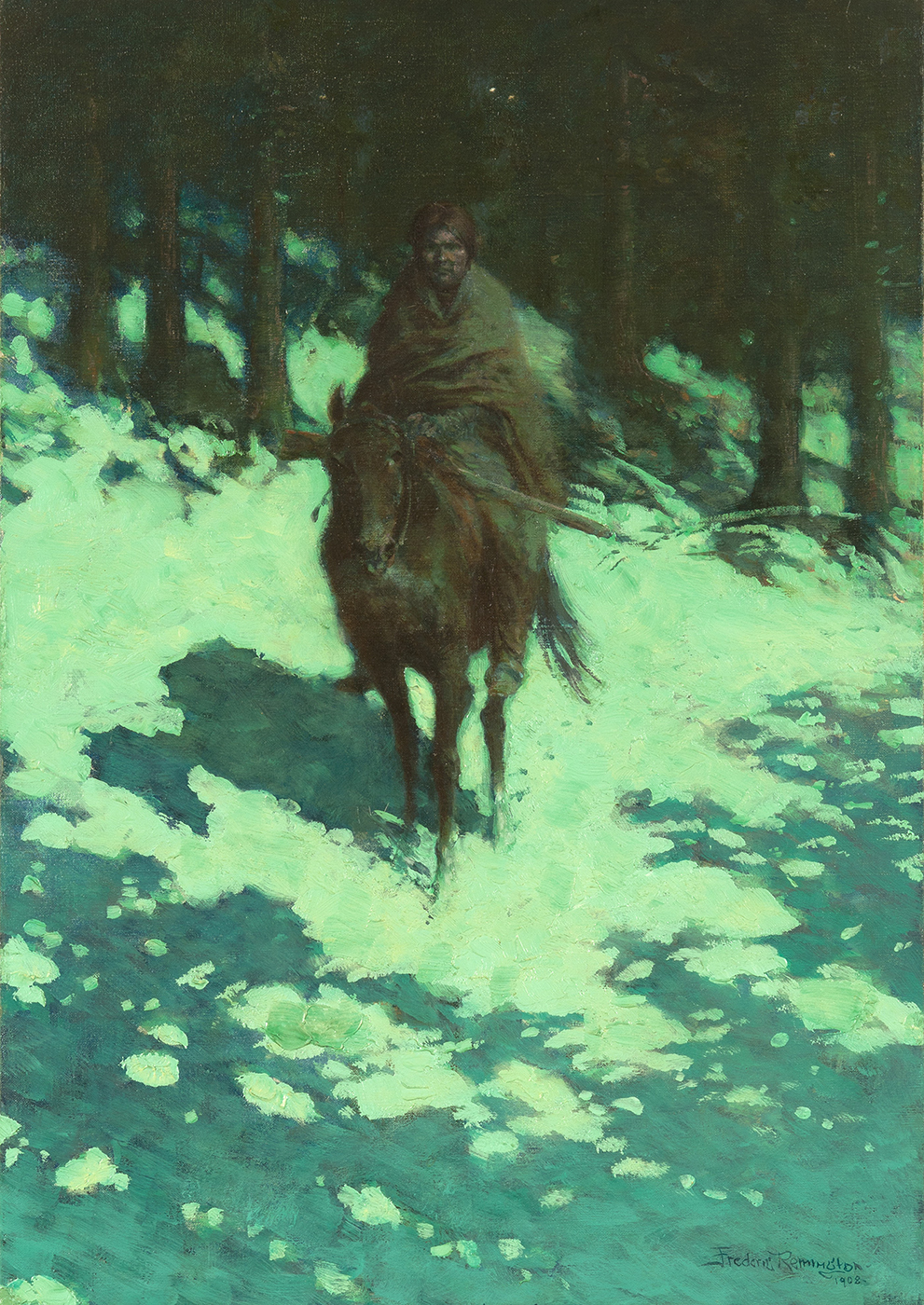 An indigenous American sits on a horse in a wooded landscape at night.