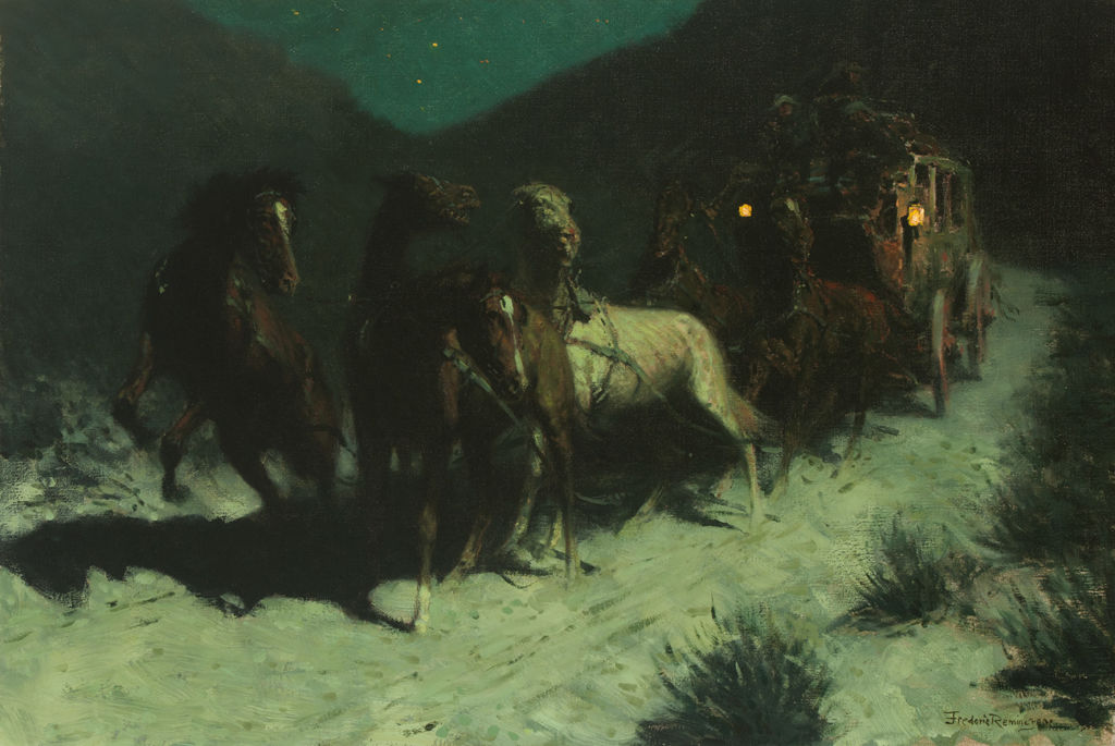 A team of startled horses pulls a stage coach through a landscape at night.