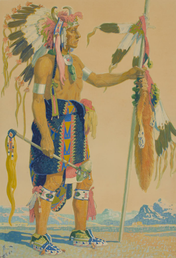 A full length, side view, portrait of an Assiniboine man in tribal clothing.