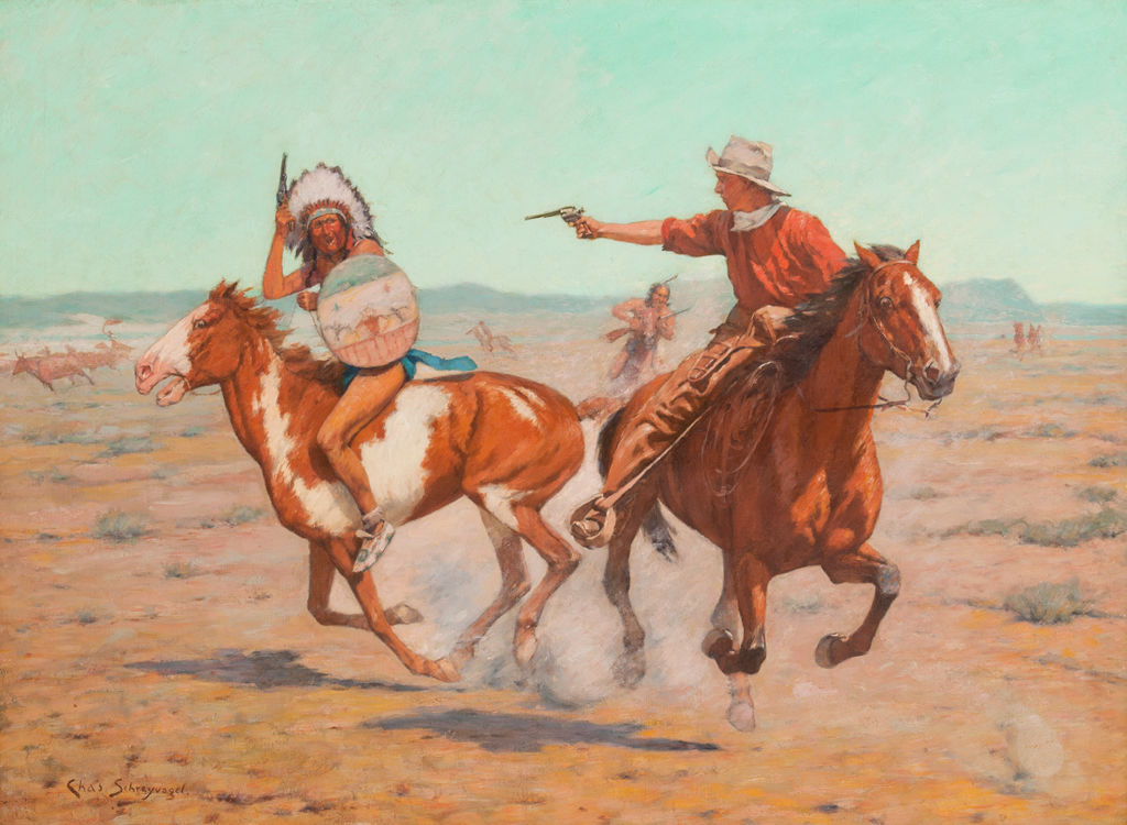 An indigenous American man in a feathered war bonnet and shield and a cowboy wearing a white hat and bandana, ride galloping horses and aim at one another with pistols.