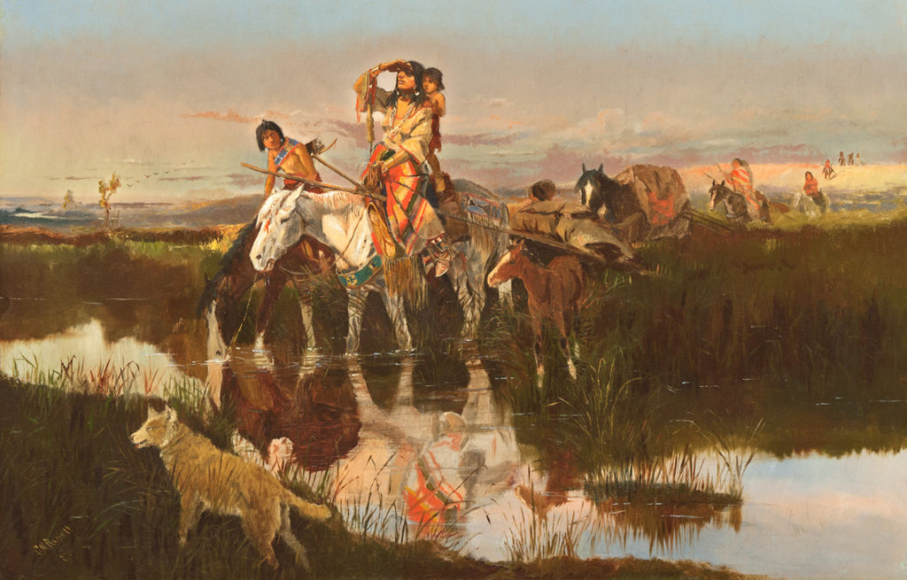 Indigenous American women and children ride horses through wetlands.