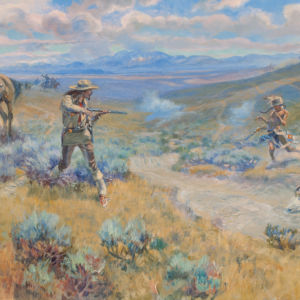 An Anglo man and an indigenous American man engage in a fatal duel with rifles.
