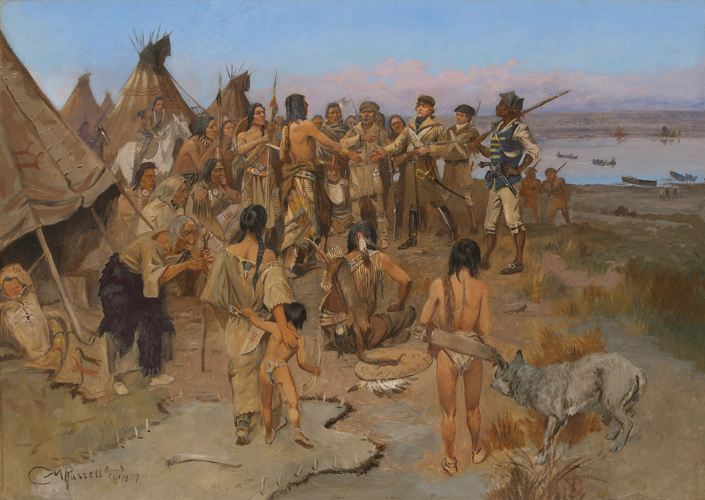A large group of indigenous Americans are gathered and focused on the meeting of two men at the center, set before a distant river landscape.