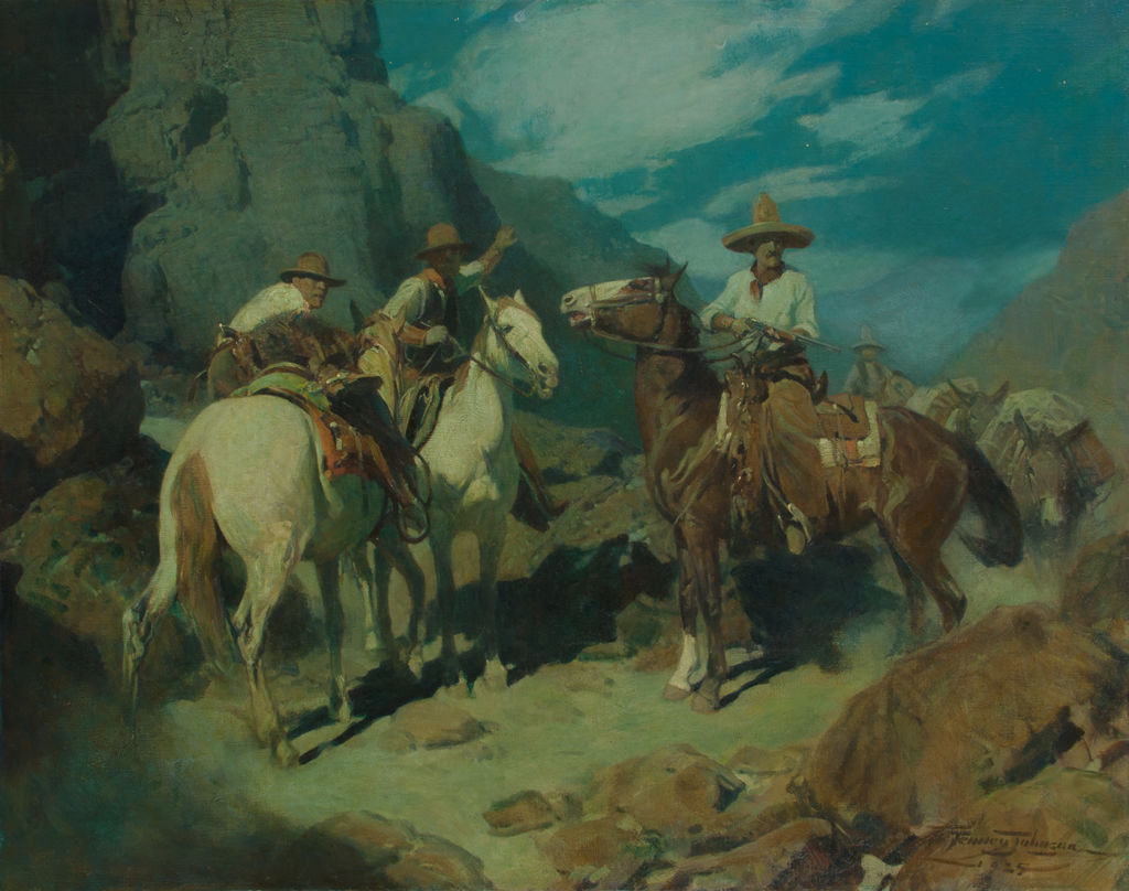 Three men on horseback stop while others follow behind on a mountainous path at night.