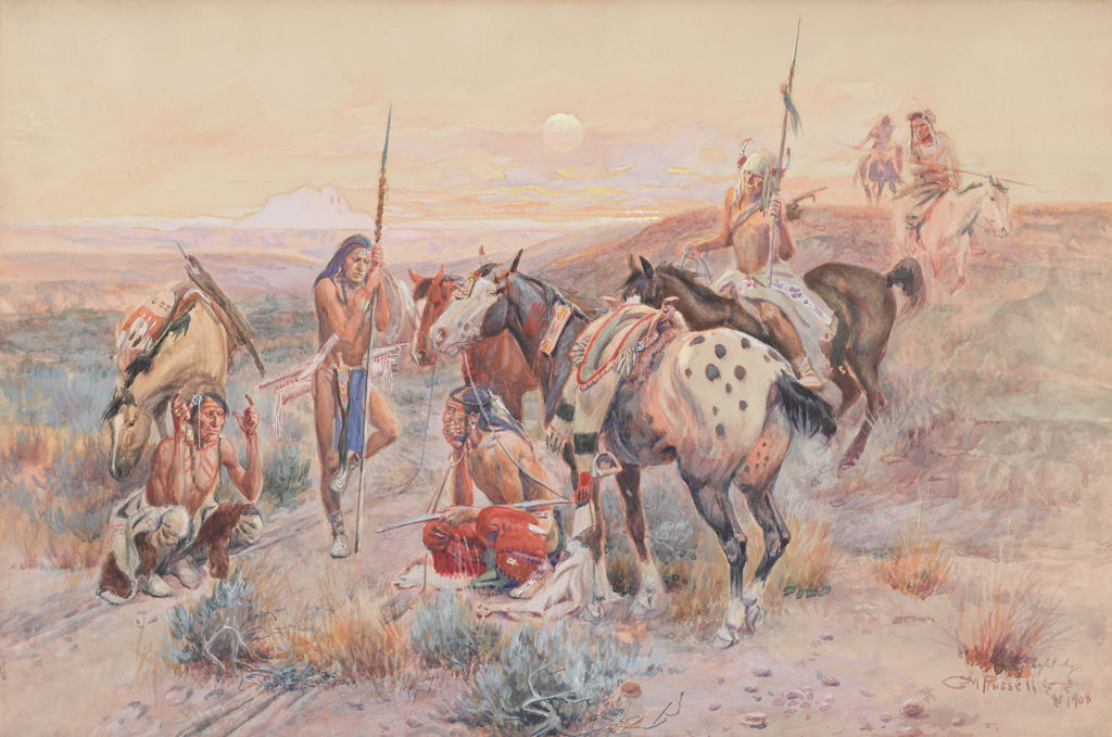 A group of indigenous American men with horses gather around linear tracks on the ground.