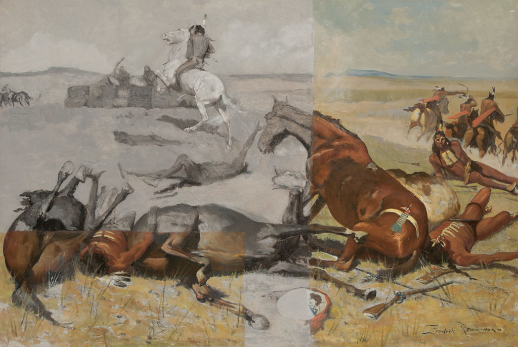 Wounded indigenous American men and horses lie on the ground while a group of men battle in the background.
