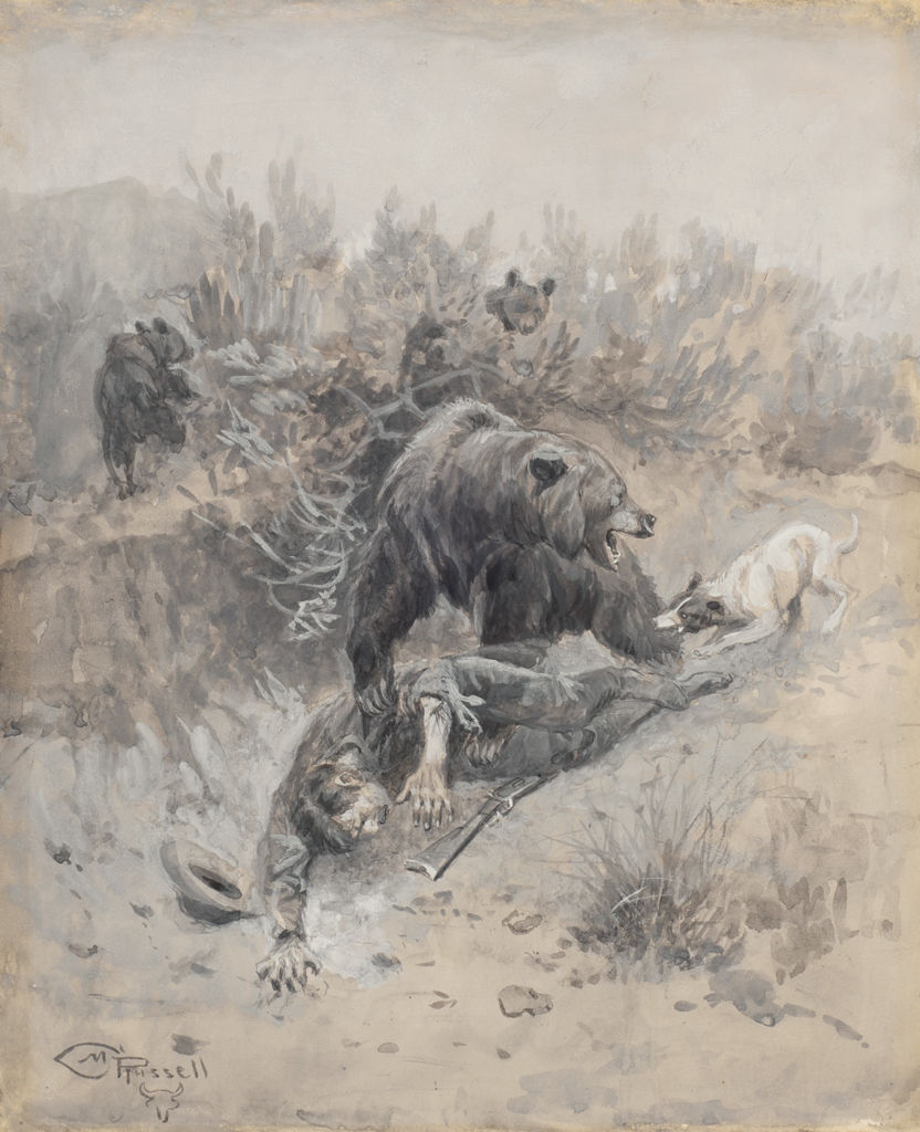 A bear mauls a man while a dog bites its hind leg.