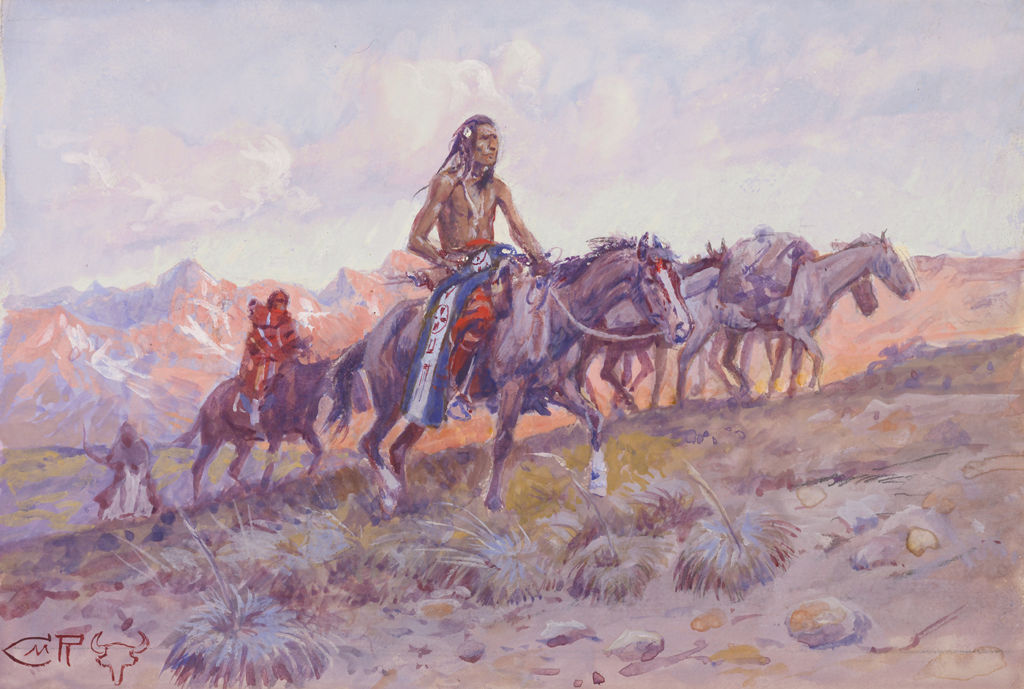 A group of Plains Indians with several pack horses ride across the land.