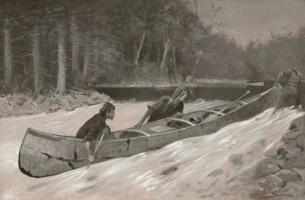 Three men row and pull a canoe in a moving stream.