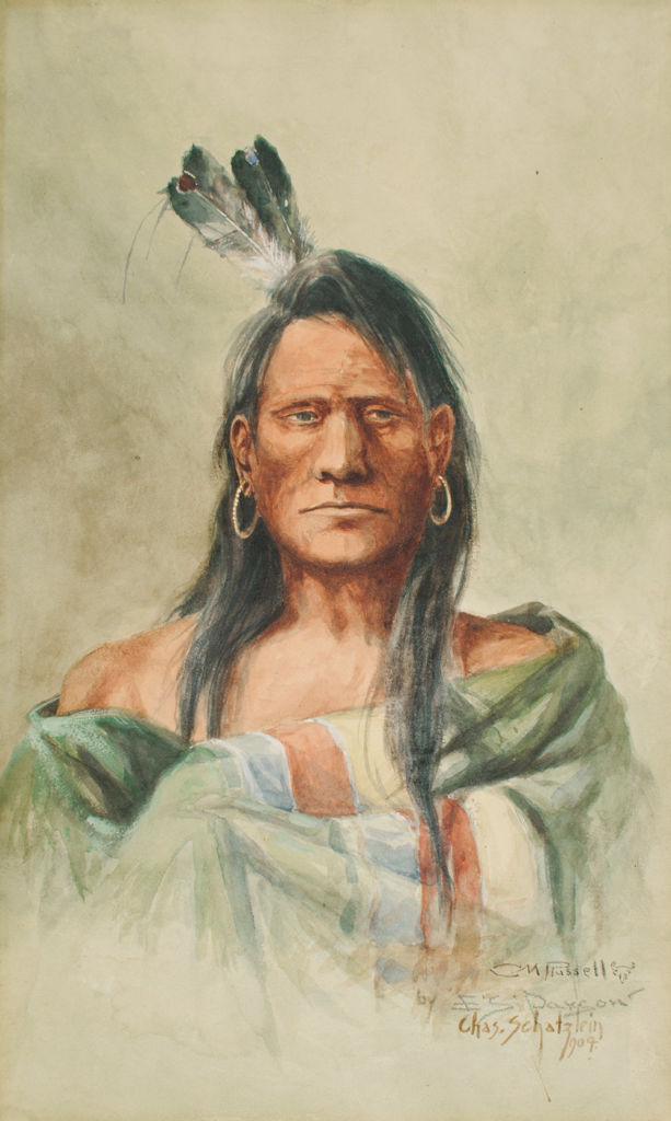 A bust length portrait of an indigenous American man.