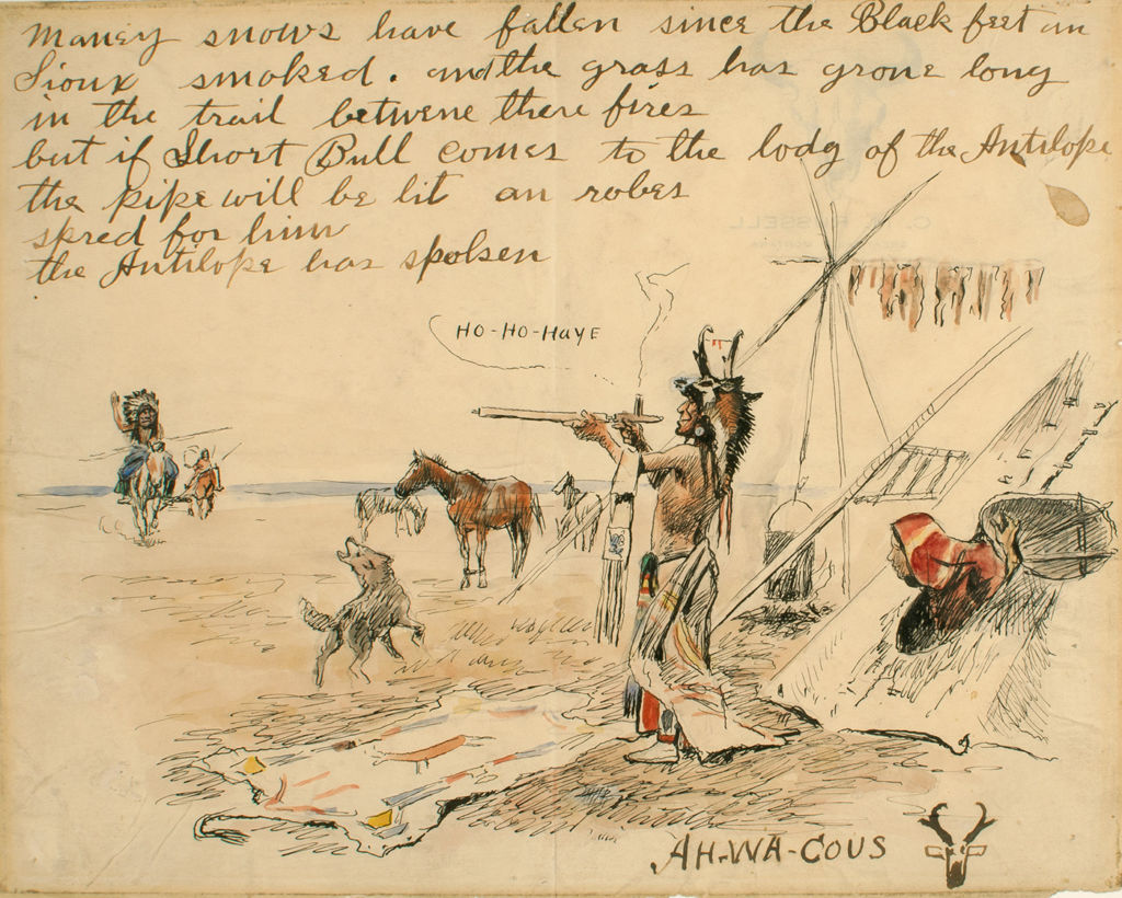 An illustrated letter depicting an indigenous American scene.