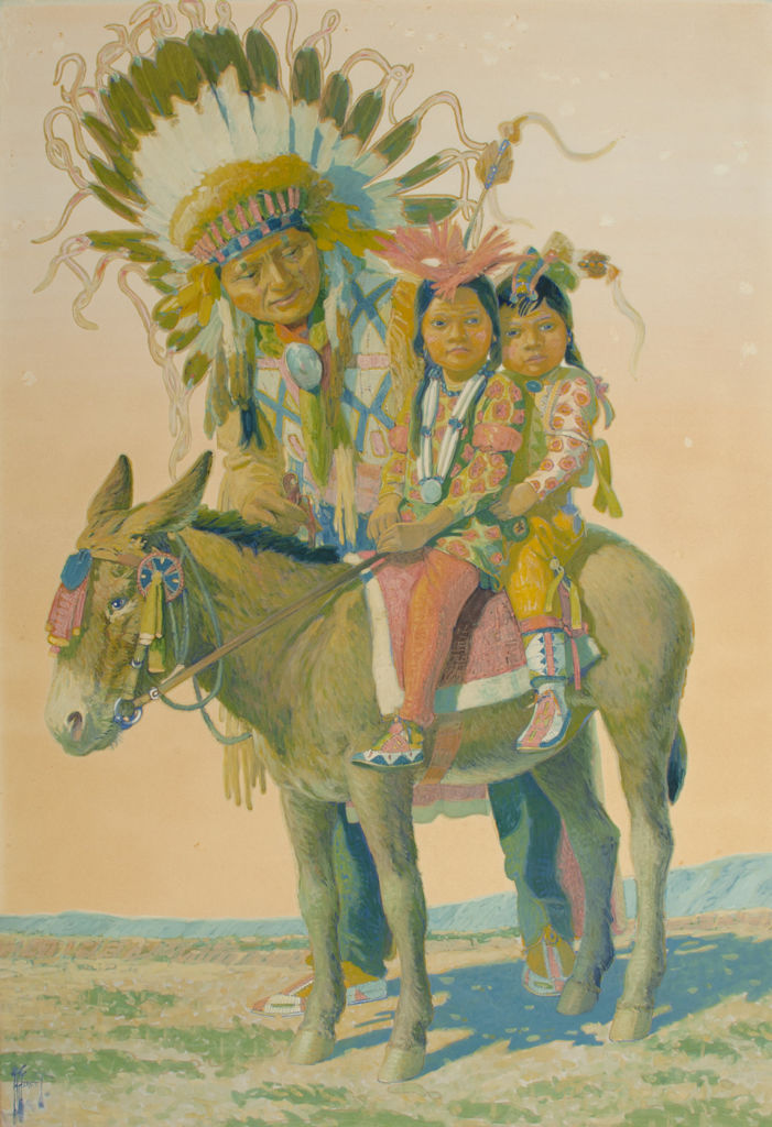 An Oglala man leans over two young children seated on a donkey.
