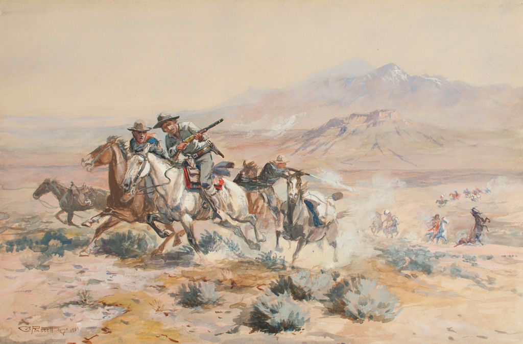 A group of Anglo men on horseback with rifles are being followed by mounted indigenous American men in the far distance.