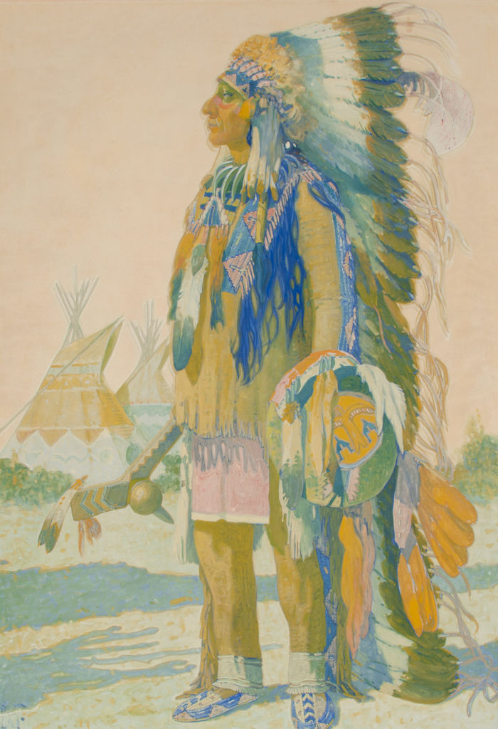 A full length, side view portrait of a Ponca man in tribal clothing.