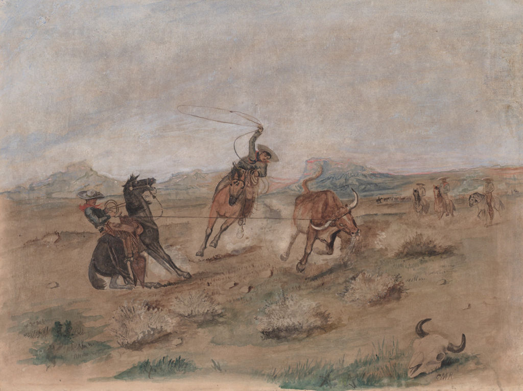 Two men on horseback are roping a steer in an open landscape.