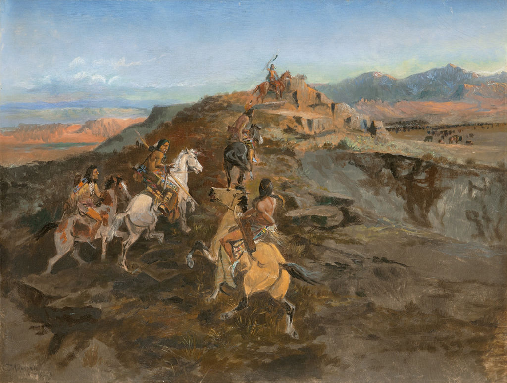 Indigenous American men on horseback ride to the top of a ridge with bison gathered below.