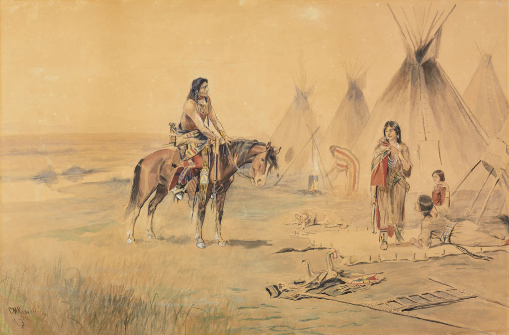 An indigenous American man on a horse is in front of two indigenous American women at work in front of tipis.