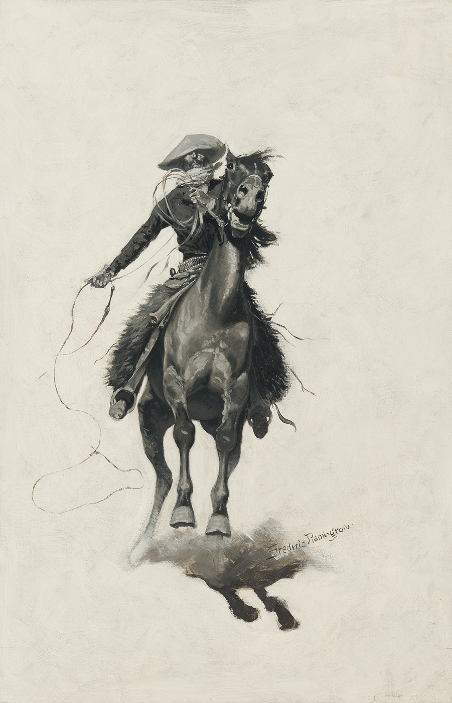 A cowboy with a lasso gallops on a horse towards the viewer.