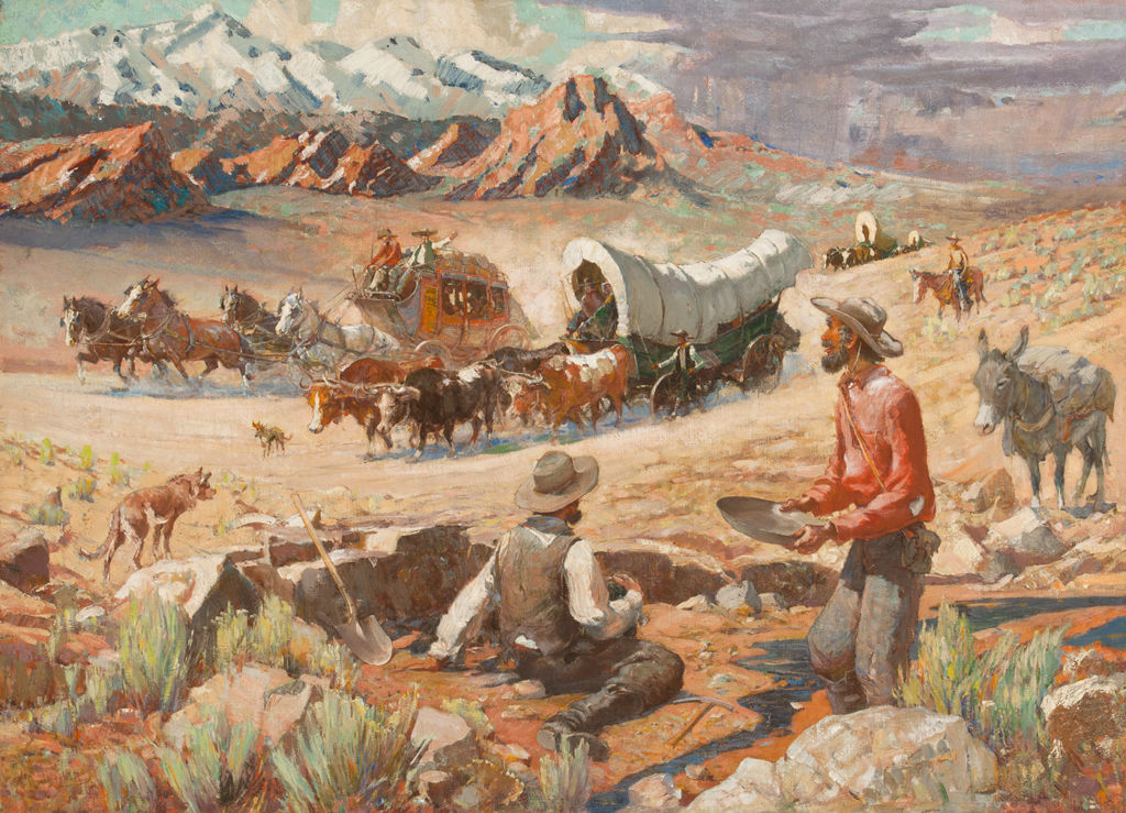 Two men panhandling for gold watch a stagecoach and covered wagon pass by with mountains in the distance.