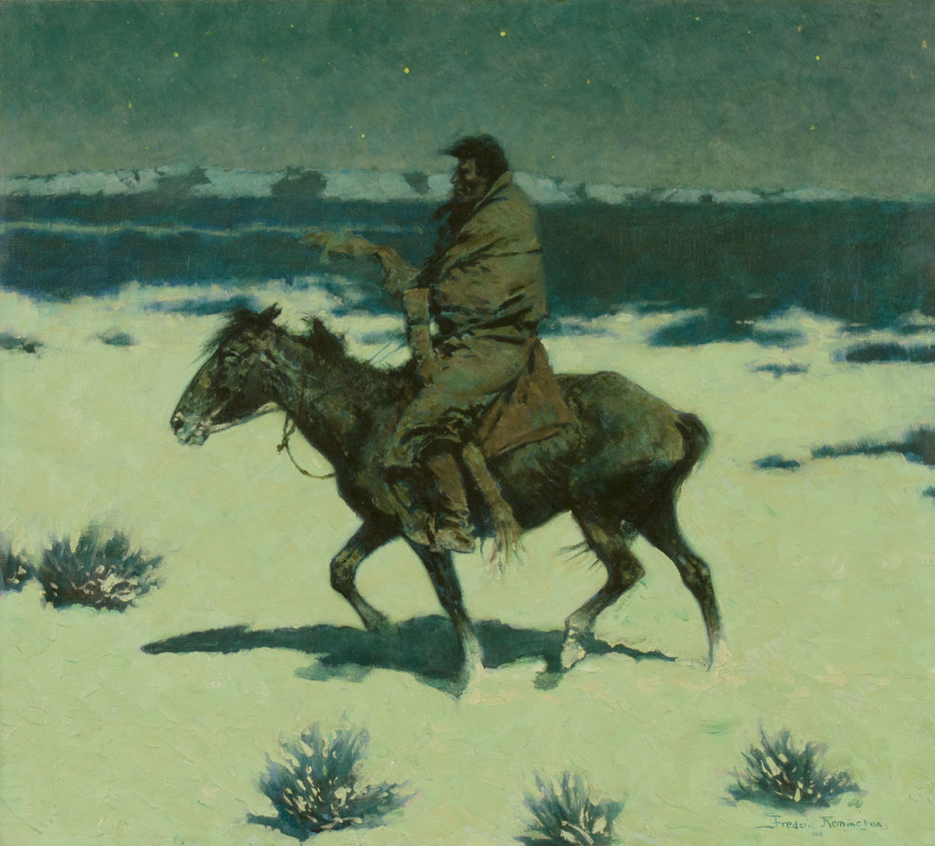 An indigenous American man rides a horse through a snowy, windy landscape at night.
