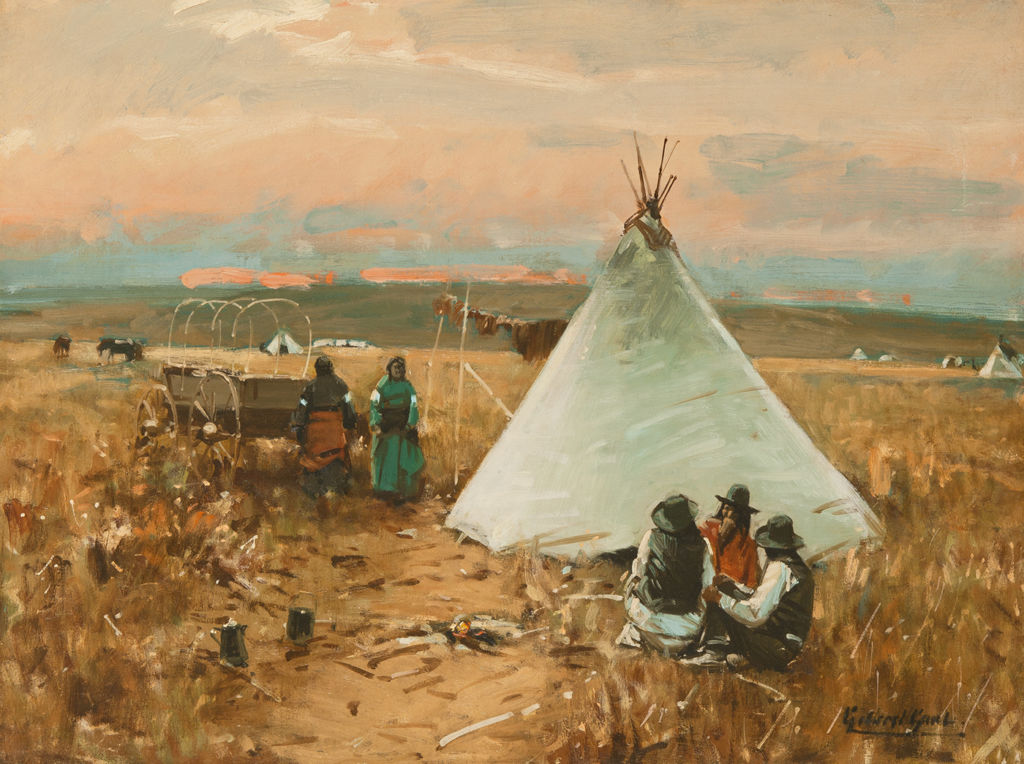 Two small groups of indigenous Americans wearing western-style clothes gather near a large tipi.