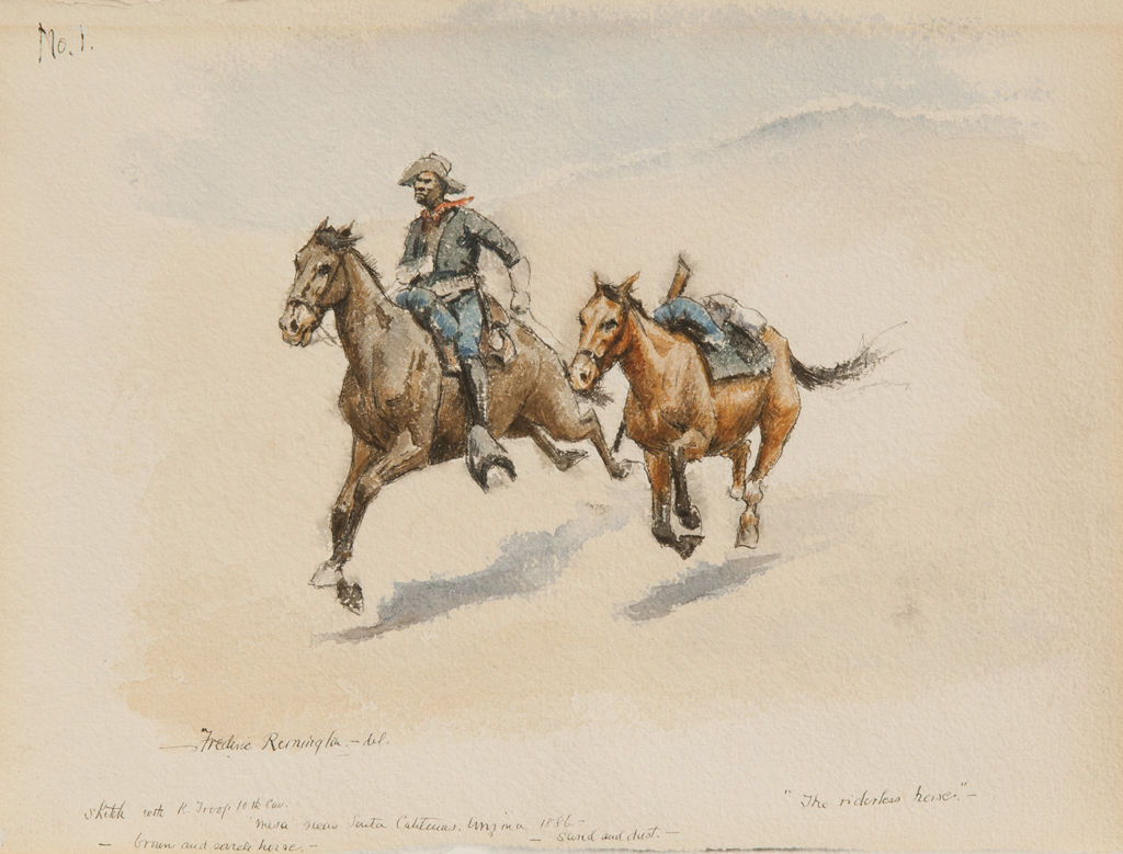 Two horses gallop together across a bare landscape with a lone African American man riding atop one of them.