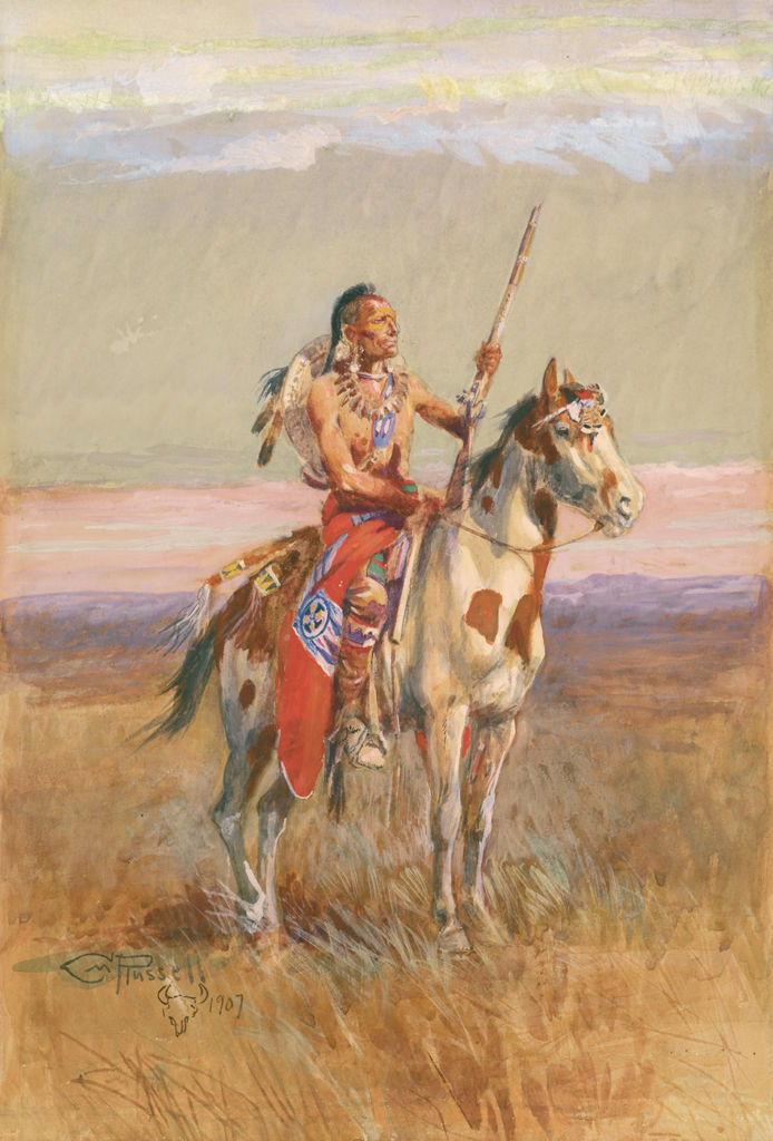 A lone Pawnee man pauses on his horse in a grassland.