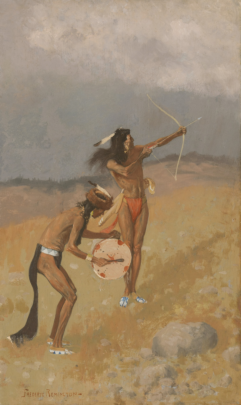 Two indigenous American men stand in a landscape. One holds a drum and the other a bow and arrow.