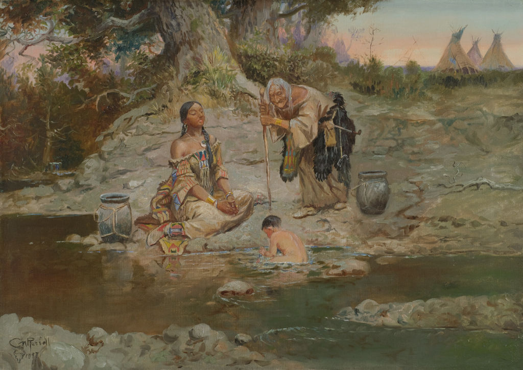 Three indigenous Americans of different generations gather at a stream of water.
