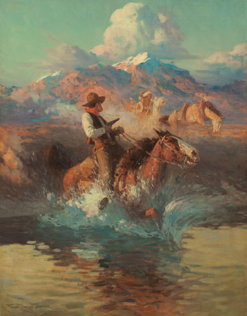 An armed Anglo man rides a horse into water while an indigenous American man on a horse follows close behind in front of a mountainous landscape.
