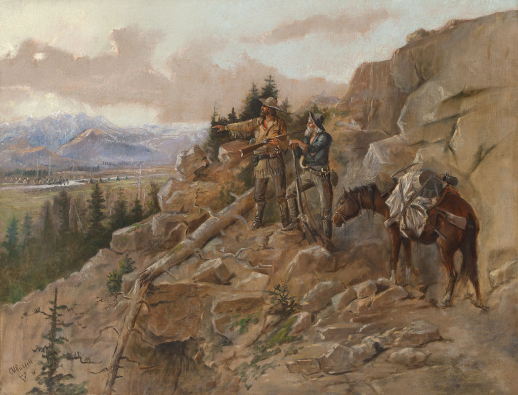 Two Anglo men with a mule on a mountain slope look out onto an indigenous American village.