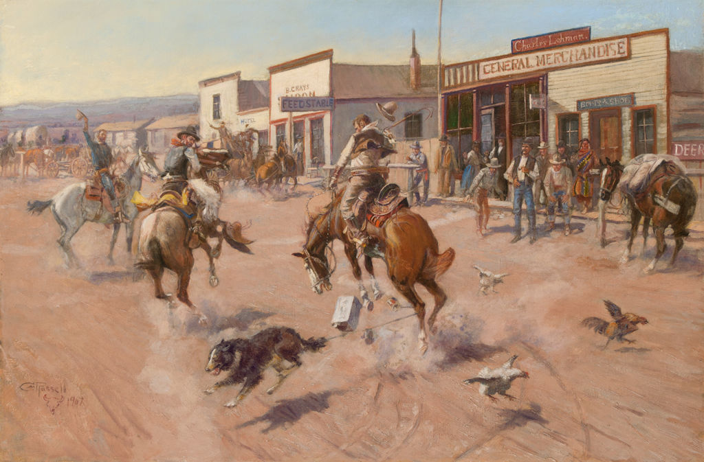 A dog with a can tied to its tail is tangled with a horse and rider in the street of a Western town while the townsfolk look on.