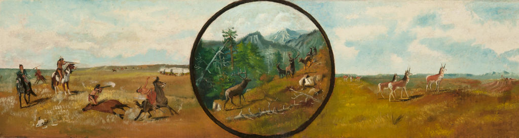 Divided into three scenes, on the left is a wagon train surrounded by indigenous Americans; at far right, antelope and hunters; and in the center circle, a herd of elk in a mountain forest.