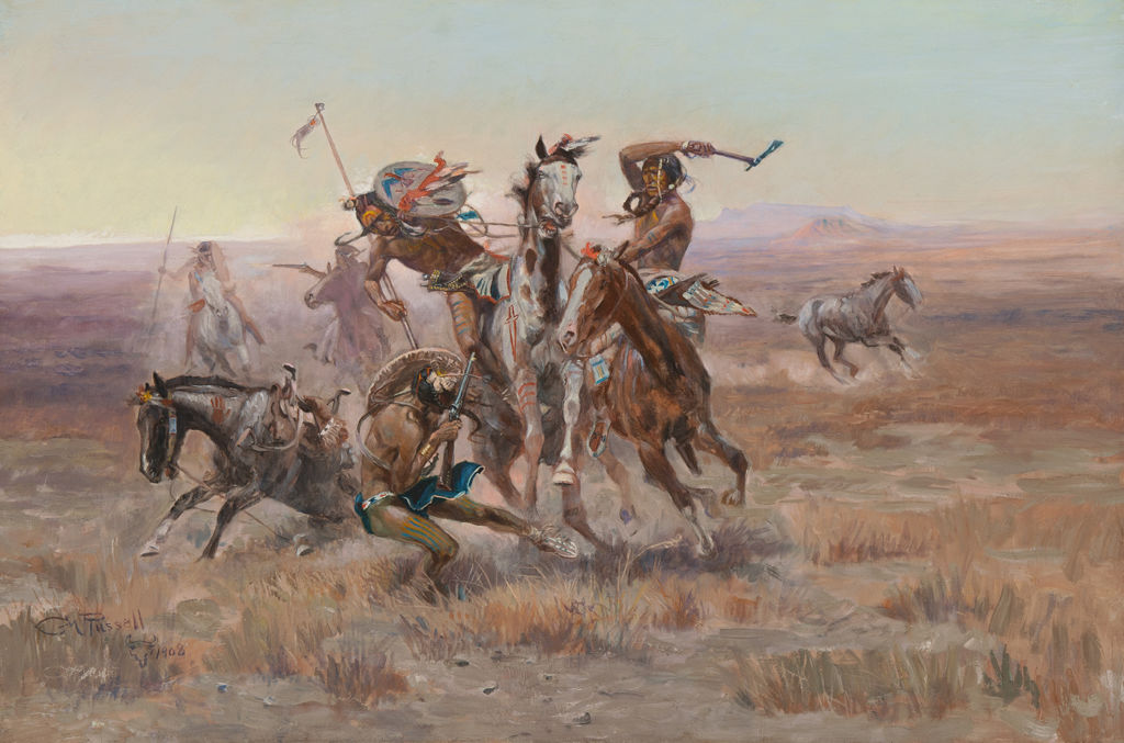 A group of Sioux and Blackfeet men engage in close combat.