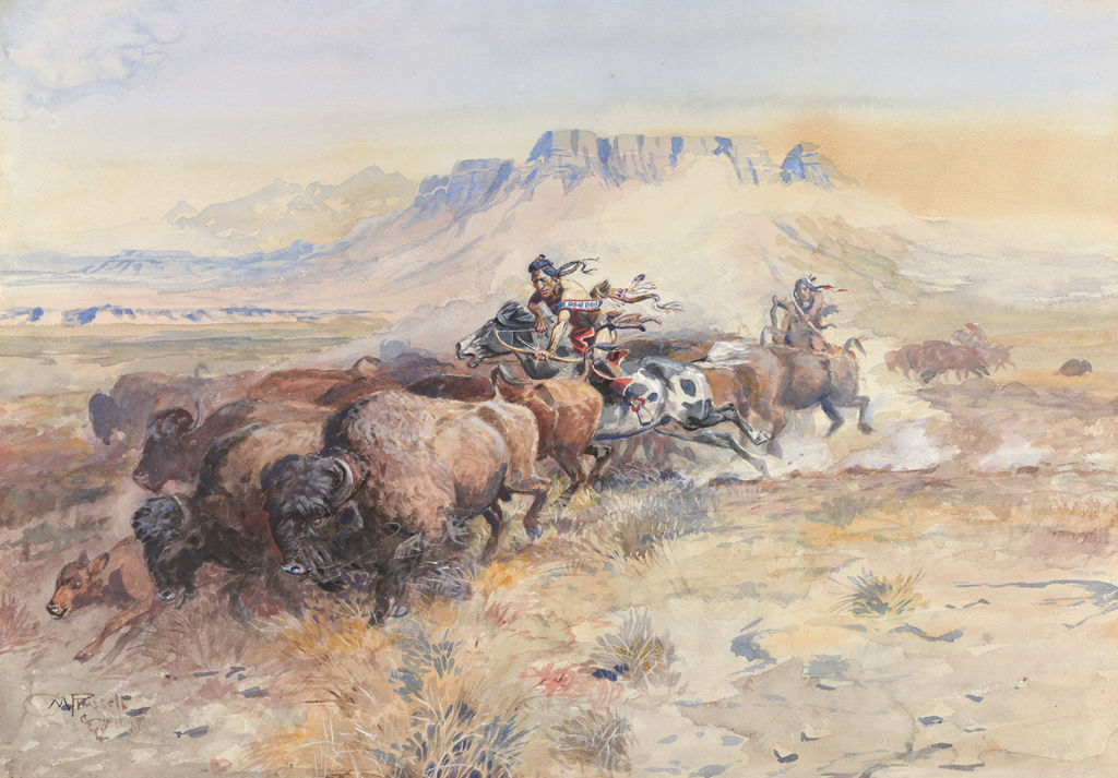 Indigenous American men on horseback aim their bows and arrows at bison.