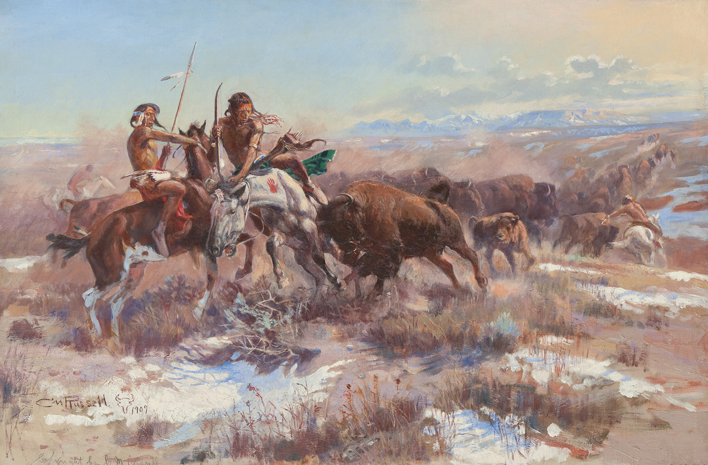 Two indigenous American men on horseback are charged by a wounded bison.