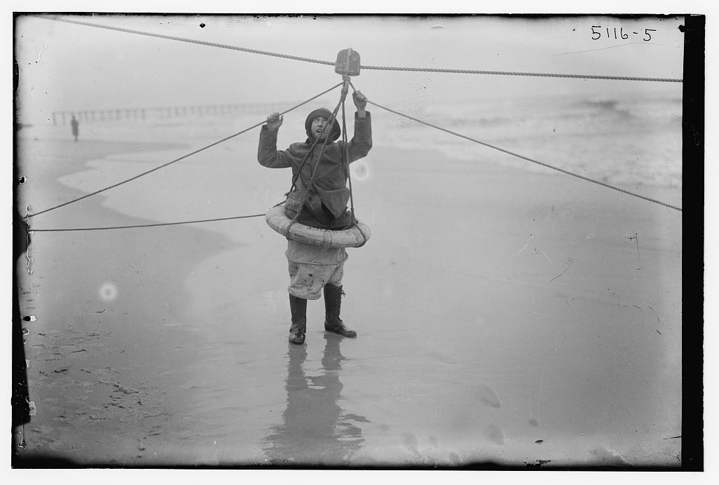 Breeches buoy during the rescue of the SS Northern Pacific on January 2, 1919, Library of Congress