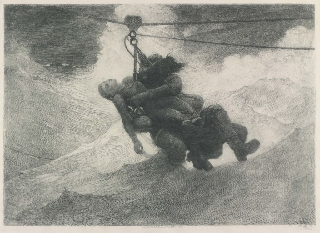 Winslow Homer (1836-1910); The Life Line; 1884; Etching