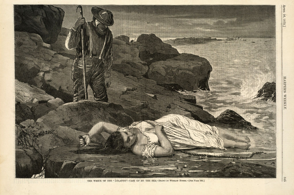 The Wreck of the 'Atlantic'--Cast up by the Sea | Winslow Homer | 1873 | Wood engraving | Harper's Weekly