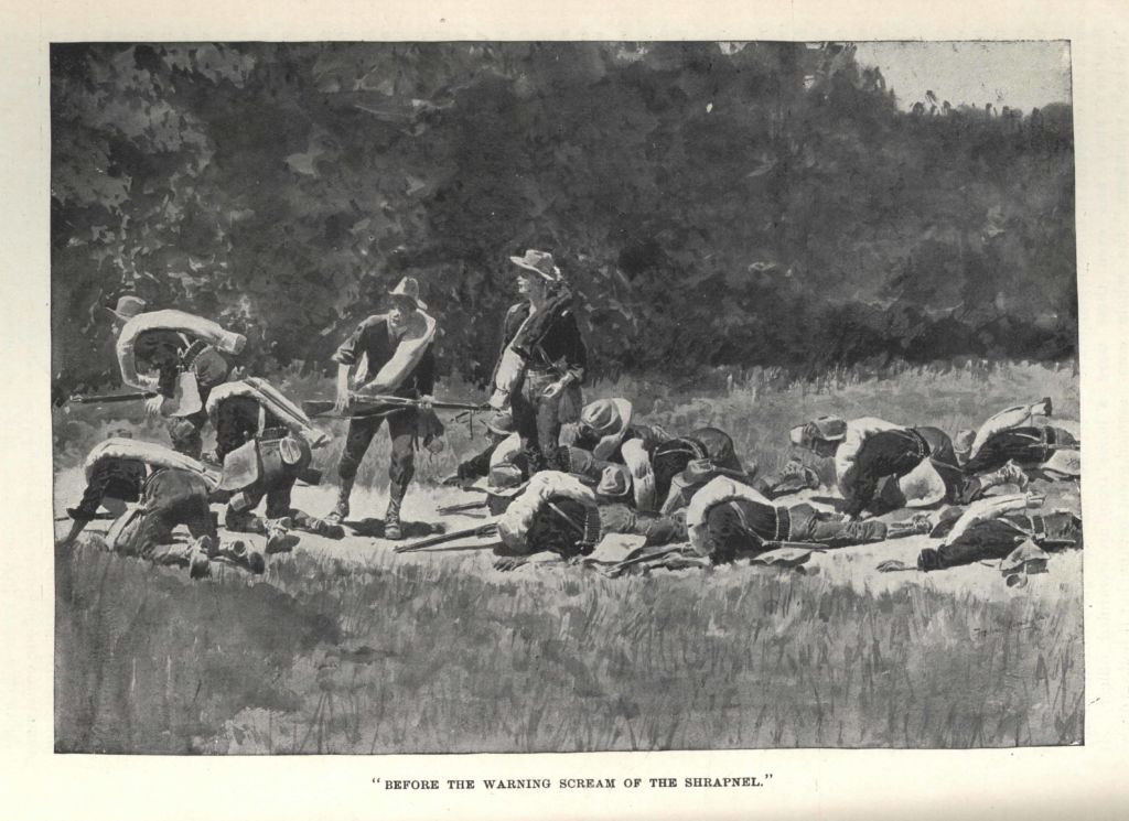 Before the Warning Scream of the Shrapnel, from Harper's Monthly by Frederic Remington