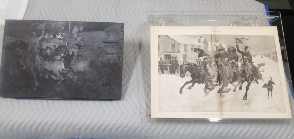 Cow-Boys Coming to Town for Christmas, wood block and magazine print, by Frederic Remington