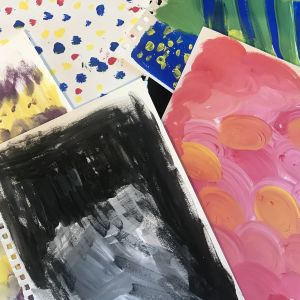 Photo of collage papers painted with different techniques